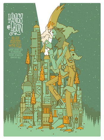 kings of Leon invisible screen print band poster