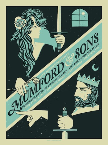 Mumford and Sons screen print band poster