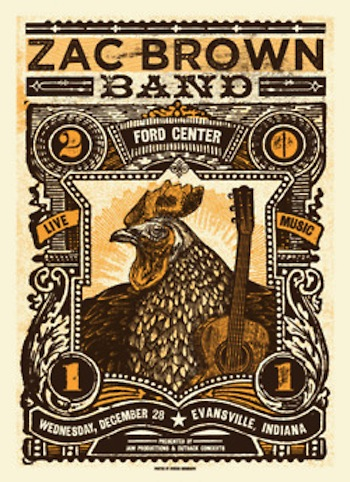 Zac Brown Band screen print band poster