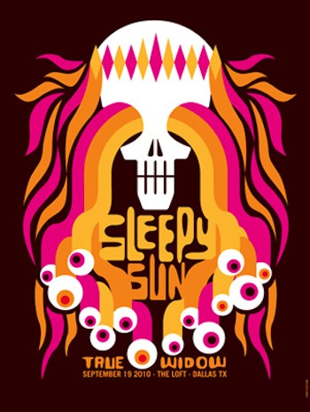 sleepy sun screen print band poster