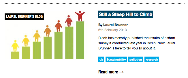 Laurel Brunners' sustainability blog artile called Still a steep hill to climb