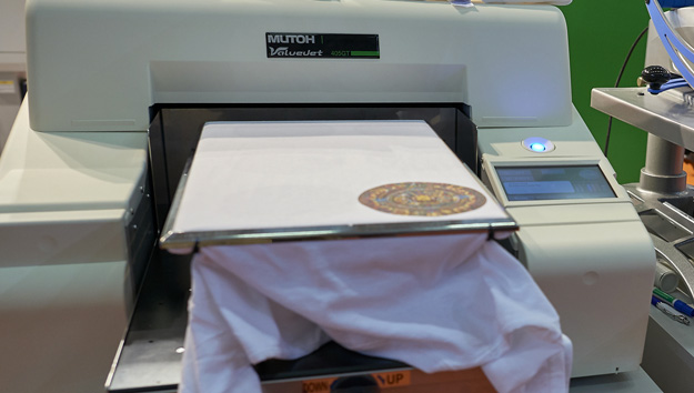Mutoh has demonstrated this ValueJet 405GT direct to garment printer, which is due to launch in 2015. Image (c) Nessan Cleary.