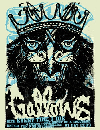 gallows cat screen print band poster