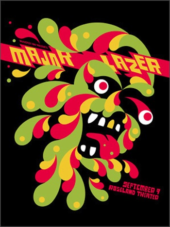 major lazer screen print band poster