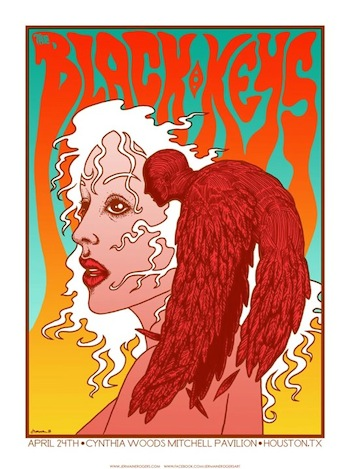 black keys houston jermaine rogers screen print band poster