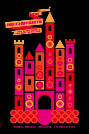 dec castle screen print band poster