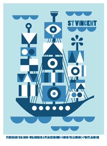 st vincent screen print band poster