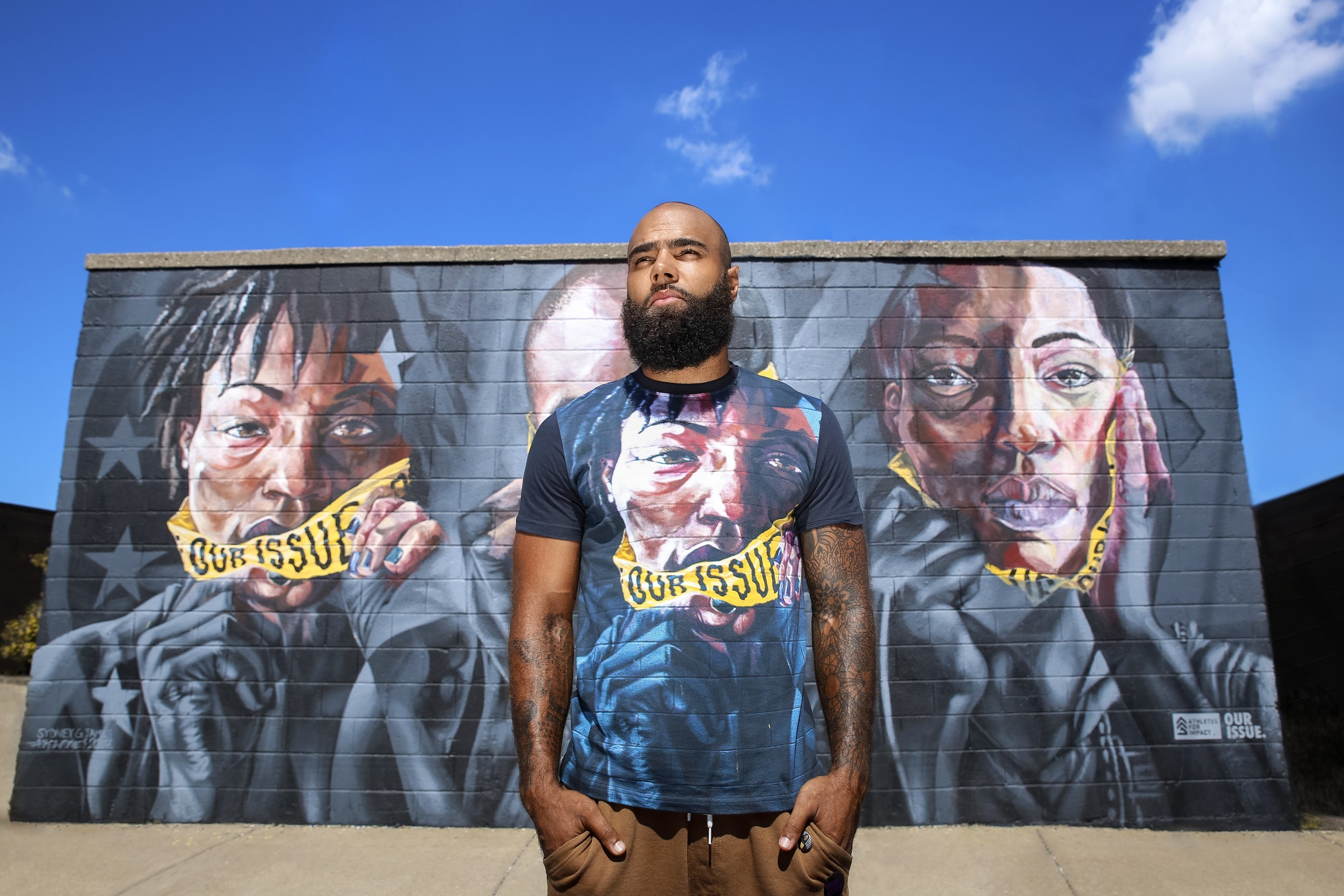 c895c191dacf Description  Former Detroit Lions NFL star DeAndre Levy joined forces with  apparel brand Detroit Hustles Harder to create a special