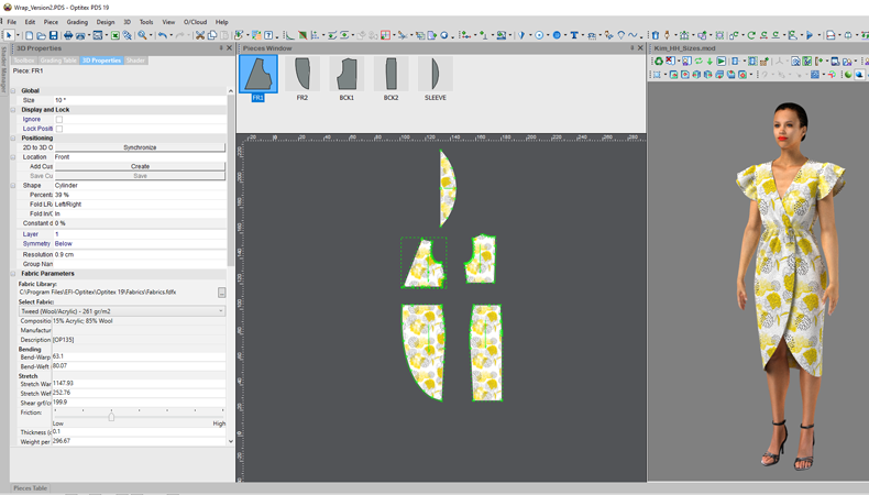 2D design and 3D visualisation in fashion printing